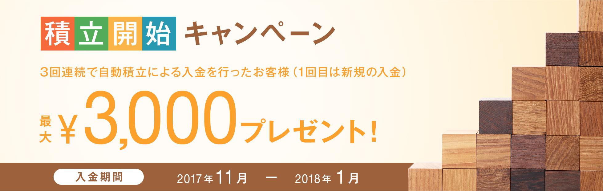 積立開始キャンペーン:3回連続で自動積立による入金を行ったお客様(1回目は新規の入金)に、最大3,000円の現金プレゼント!